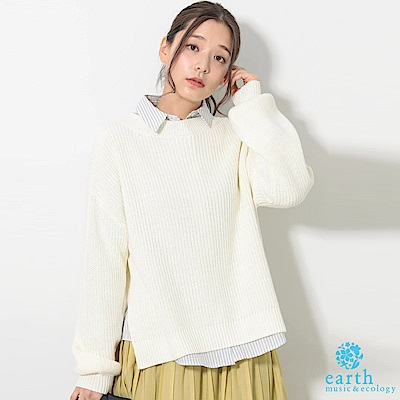 earth music 【SET ITEM】圓領落肩針織上衣+定番長袖襯衫