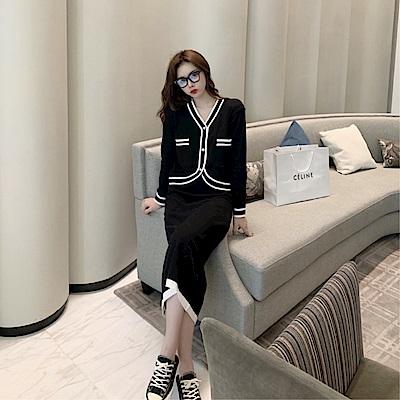 DABI 韓國學院風撞色針織套裝長袖裙裝