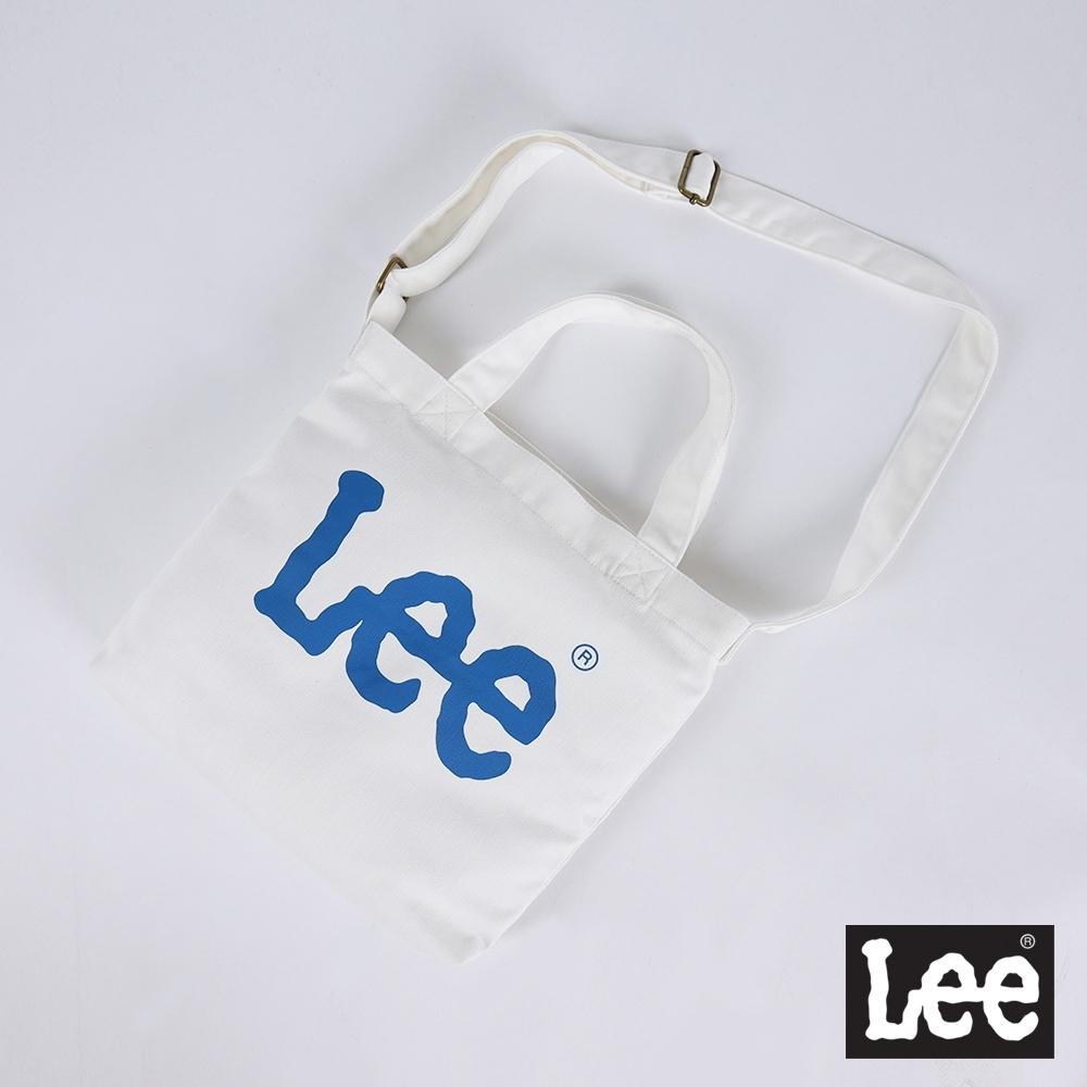 Lee 簡約文青 Logo印花 3way 帆布包 藍logo