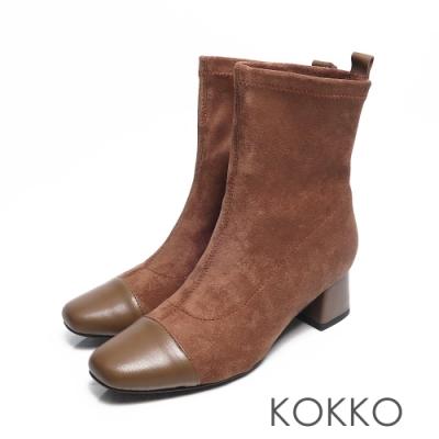 KOKKO -再見倫敦拼接方頭粗跟窄筒靴- 咖啡棕