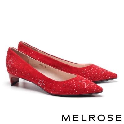 低跟鞋 MELROSE 知性典雅晶鑽麂皮尖頭低跟鞋-紅