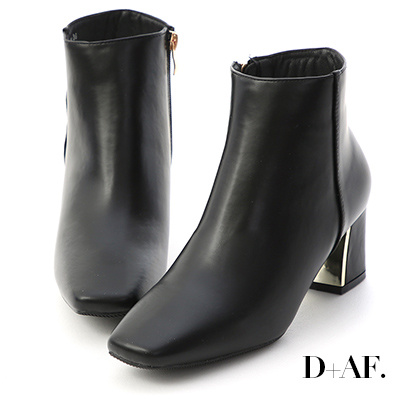 D+AF 完美主流.素面方頭金屬跟短靴*黑