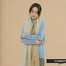 H:CONNECT 韓國品牌 配件 -抽鬚雙色圍巾-卡其