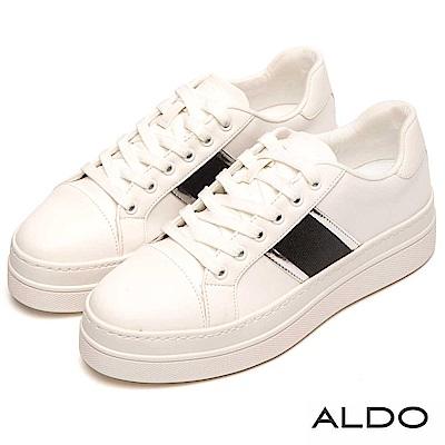 ALDO 原色清爽白佐金屬色澤綁帶厚底休閒鞋~拼接黑色