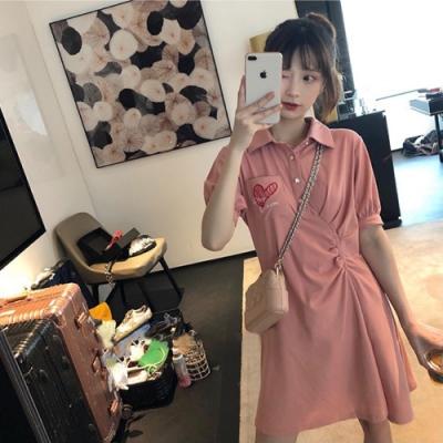 中大尺碼紅色愛心口袋襯衫領側腰抓皺修飾棉質洋裝L~4L-Ballet Dolly