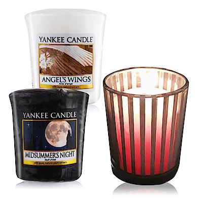 YANKEE CANDLE 香氛蠟燭-仲夏之夜+天使49gX2+祈禱燭杯