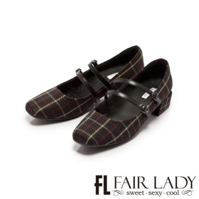 Fair Lady格紋雙繫帶瑪莉珍方頭低跟鞋 黑格紋