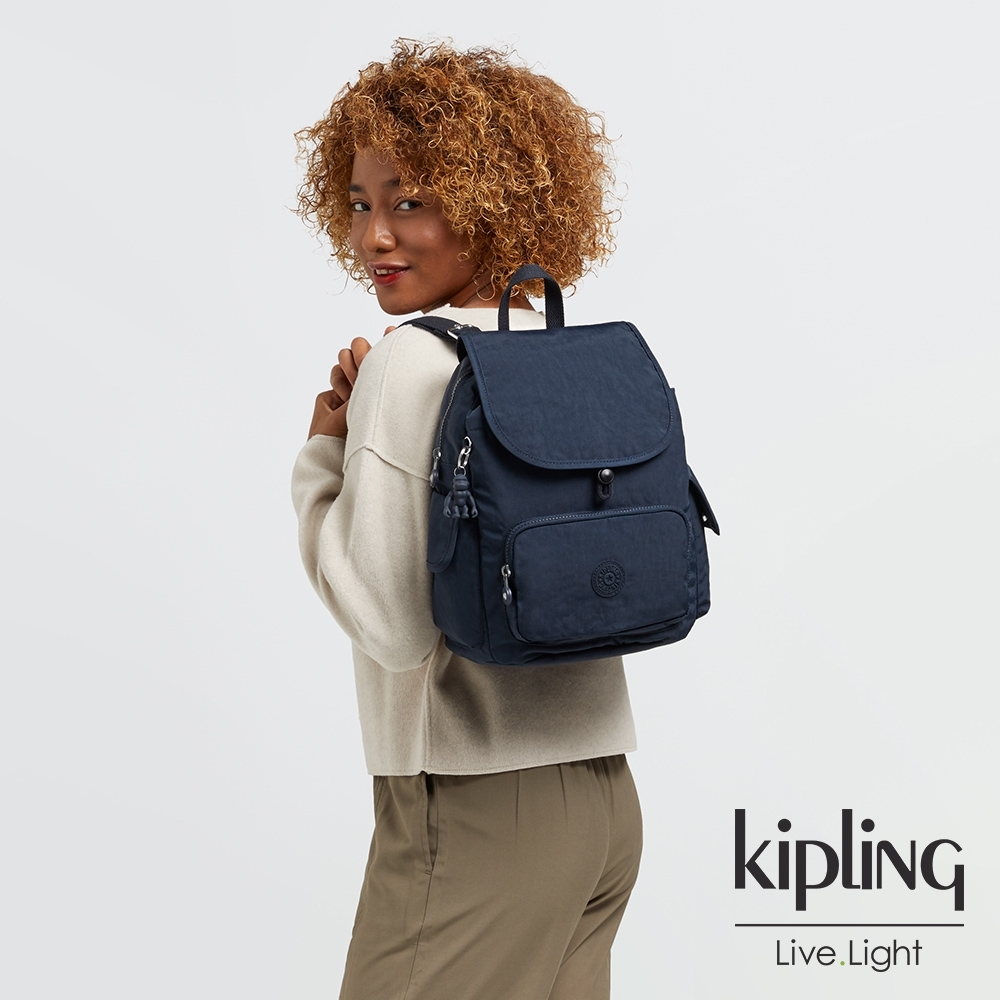 Kipling 都市沉穩藍拉鍊掀蓋後背包-CITY PACK S
