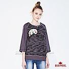BRAPPERS 女款 別針木紋印花五分袖上衣-灰