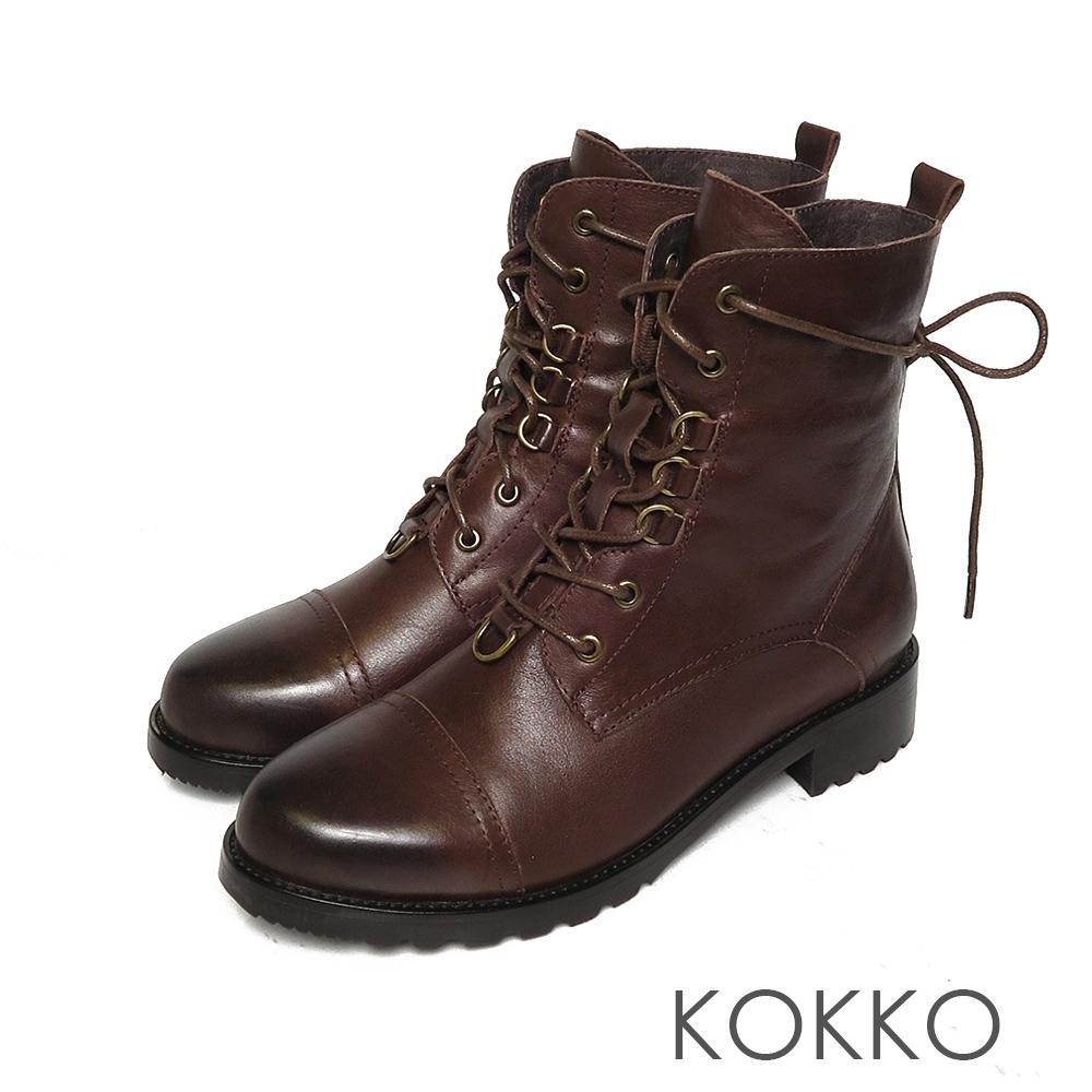 KOKKO高質感牛皮雙擦色綁帶短靴咖啡色