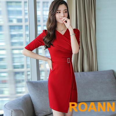 性感交疊V領不規則包臀短袖洋裝 (共二色)-ROANN