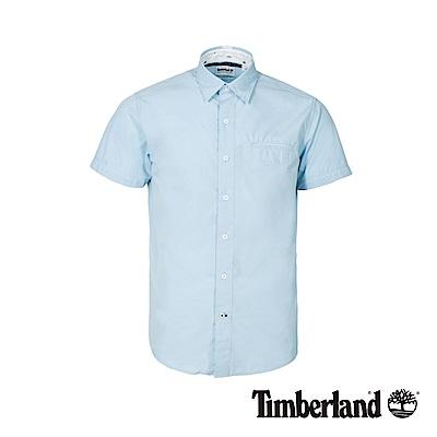 Timberland 男款天空藍修身短袖襯衫|A1WWZ