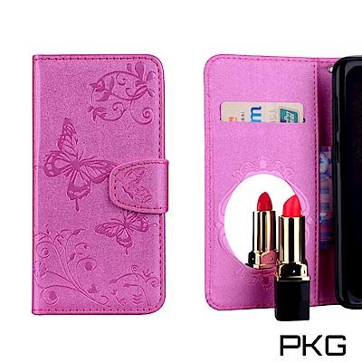 PKG 三星S9-Plus 側翻式皮套-時尚新款-內附鏡面-玫紅