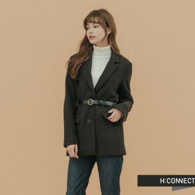 H:CONNECT 韓國品牌 女裝-附腰帶毛呢西裝外套-黑