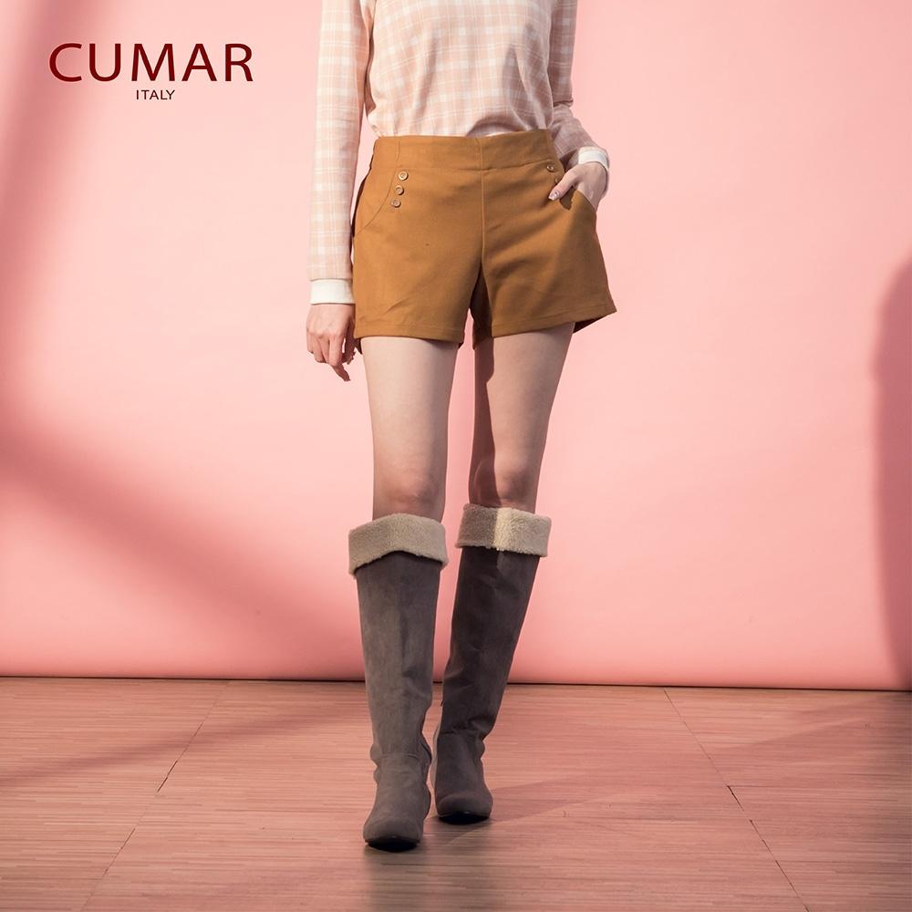【CUMAR】簡約斜紋布-短褲(二色)