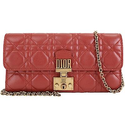 Dior DIORADDICT 頂級小羊皮籐格紋皮夾晚宴包(赭紅色)
