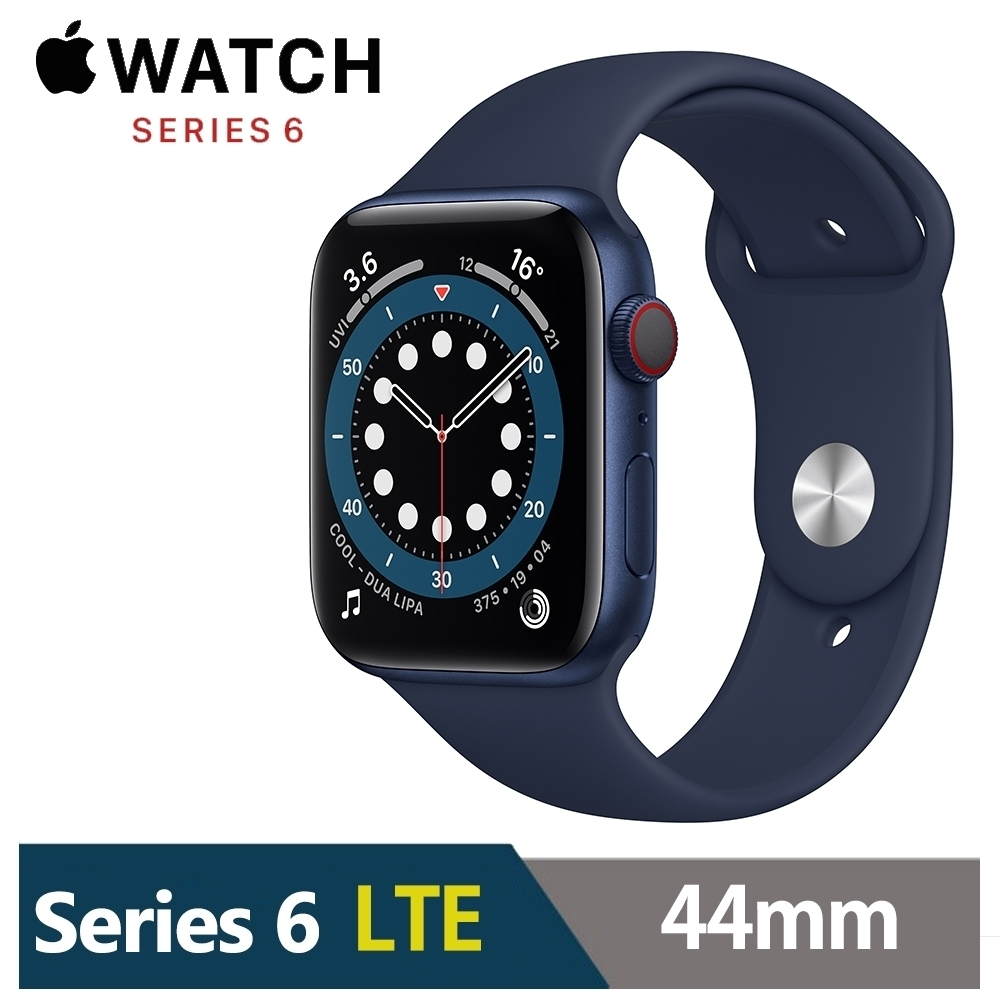 Apple Watch S6 44mm 藍色鋁金屬錶殼 海軍深藍色運動型錶帶(GPS+Cellular版) M09A3TA/A