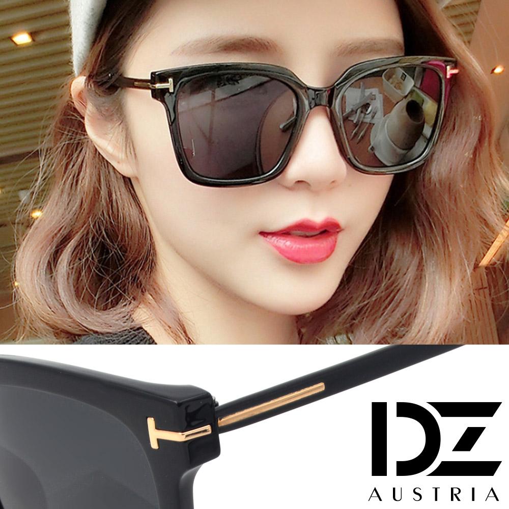 【2件59折】DZ 長T字線條 抗UV 防曬偏光太陽眼鏡墨鏡(黑框灰片)