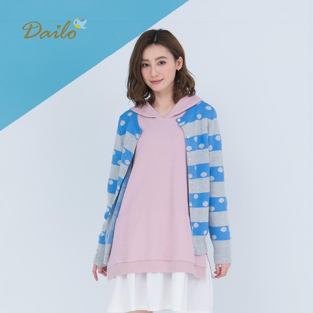 【Dailo】點點條紋拼色外套-針織衫(三色)