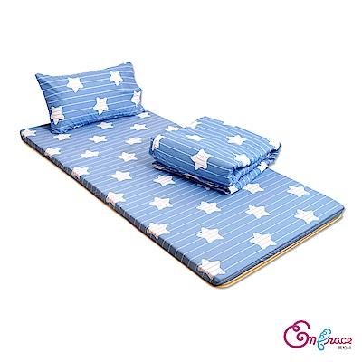 Embrace英柏絲 學生外宿組合 星星樂章單人3尺 竹青透氣床墊+枕+被 宿舍 摺疊
