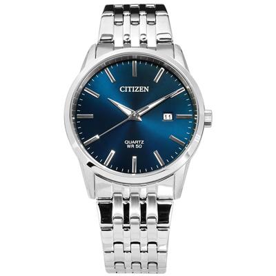 CITIZEN 礦石強化玻璃日期手錶(BI5000-87L)-深藍色/39mm