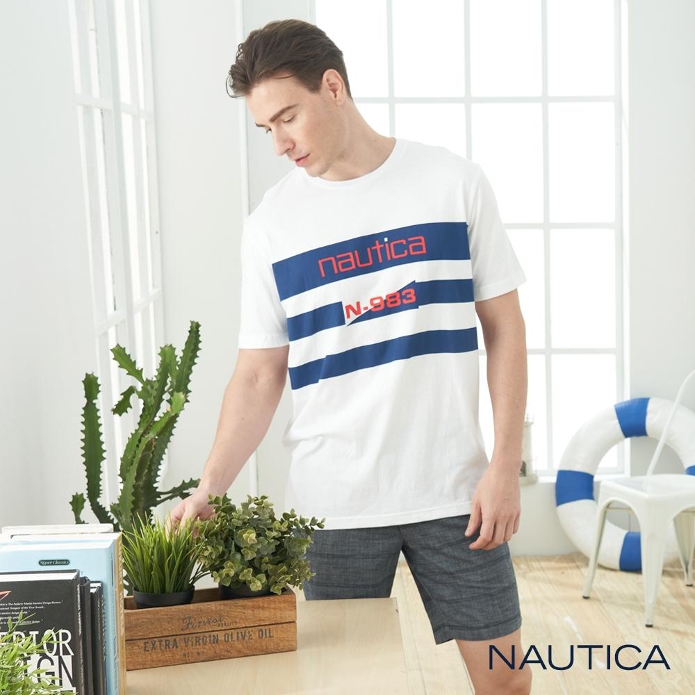 Nautica經典LOGO條紋純棉短袖TEE-白色