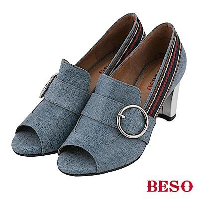 BESO 性感休閒 露趾魚口跟鞋~藍