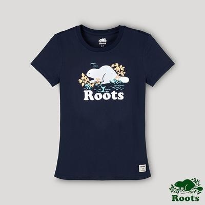 Roots 女裝- 海洋友善系列 海狸LOGO短袖T恤-藍色