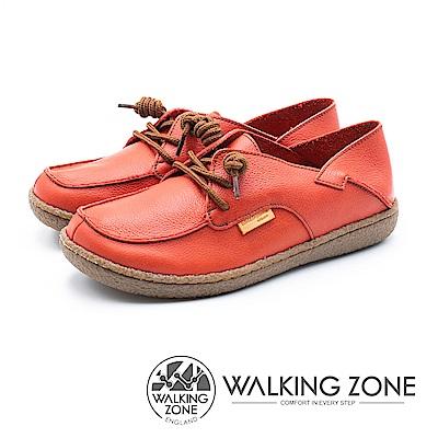 WALKING ZONE 皮革兩穿休閒鞋 女鞋 - 紅(另有米白/藍)