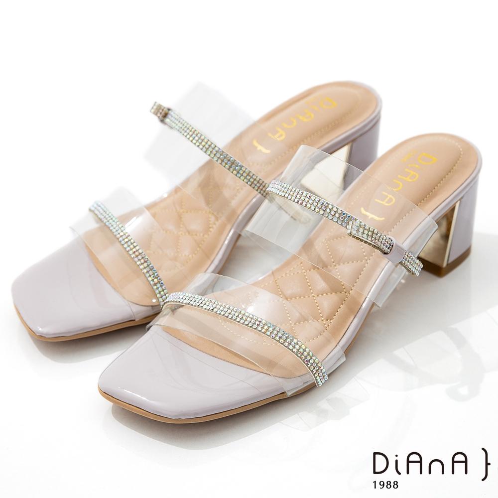 DIANA 6cm 糖果漆皮透明PVC方頭涼拖鞋-夏日風情-淺紫