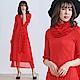 M@F摺衣 披肩網紗壓褶洋裝(含披肩)-紅色 product thumbnail 1