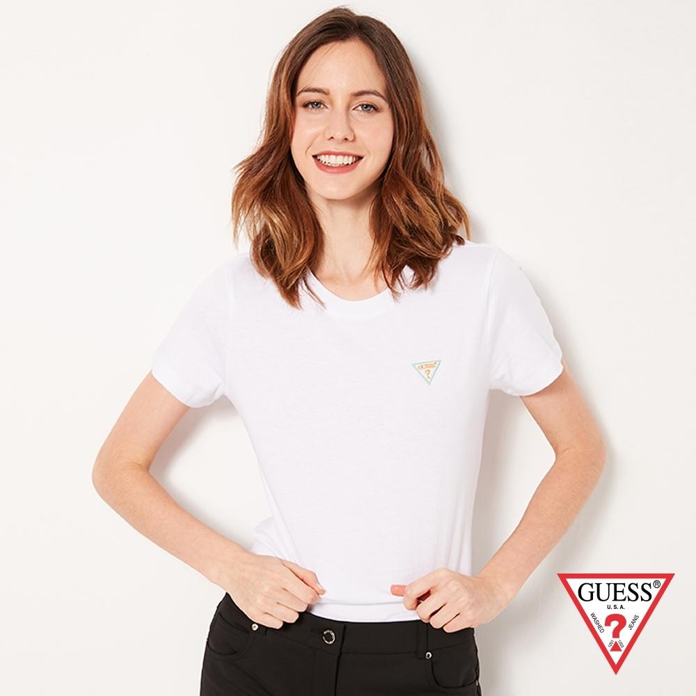 GUESS-女裝-刺繡小LOGO短T,T恤-白