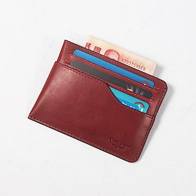 CALTAN-卡片夾 名片夾 流線設計 鈔票收納 卡夾 皮革小物-2191cd-red