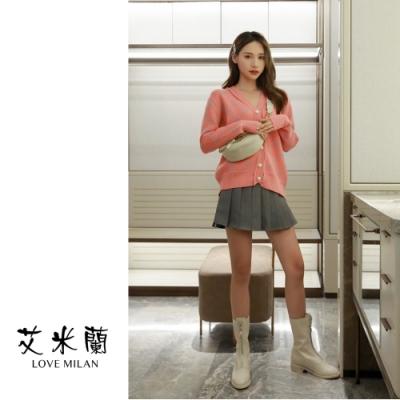 艾米蘭-輕甜V領印花排扣毛衣-粉橘-F