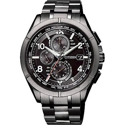 CITIZEN 星辰 限量 鈦 光動能電波計時錶(AT8166-59E)-黑/41.5mm