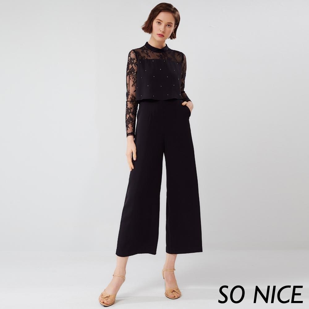 SO NICE都會水鑽蕾絲拼接連身褲