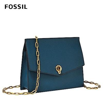FOSSIL STEVIE優雅風尚皮革個性斜背小包-蔚藍 ZB7882497