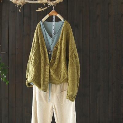 厚實柔暖螺紋V領針織衫外套寬鬆開衫長袖毛衣-設計所在