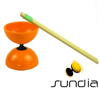 三鈴SUNDIA-台灣製造FLY長軸培鈴扯鈴(附木棍、扯鈴專用繩)橘色