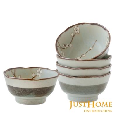 Just Home日本製白梅陶瓷11cm湯碗5件組