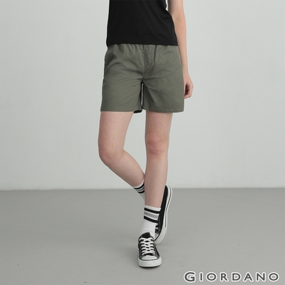 GIORDANO 女裝素色抽繩卡其短褲 - 50 葡萄葉綠