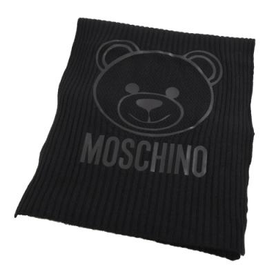 MOSCHINO塗漆大臉熊熊羊毛長圍巾(黑 )
