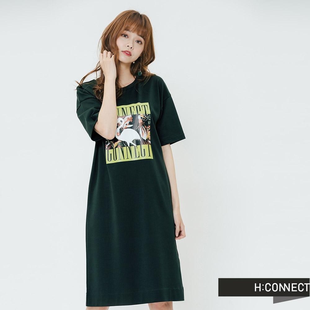 H:CONNECT 韓國品牌 女裝-夏日圖印休閒洋裝-綠