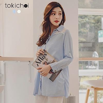 東京著衣 優雅氣質蕾絲拼接襯衫-S.M(共二色)