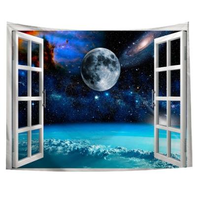 半島良品 北歐風裝飾掛布-窗景系列/窗景-星空 150x130cm