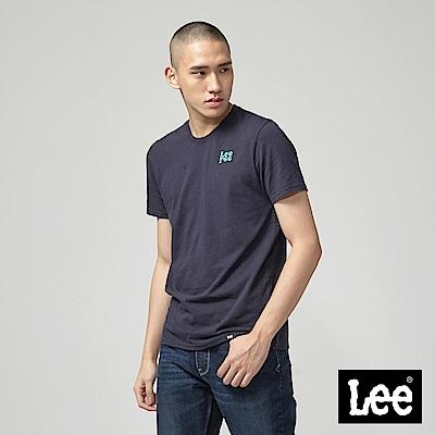 Lee 鏡射小LOGO短袖圓領T恤-丈青