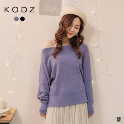 東京著衣-KODZ 氣質性感變身大圓領毛毛上衣