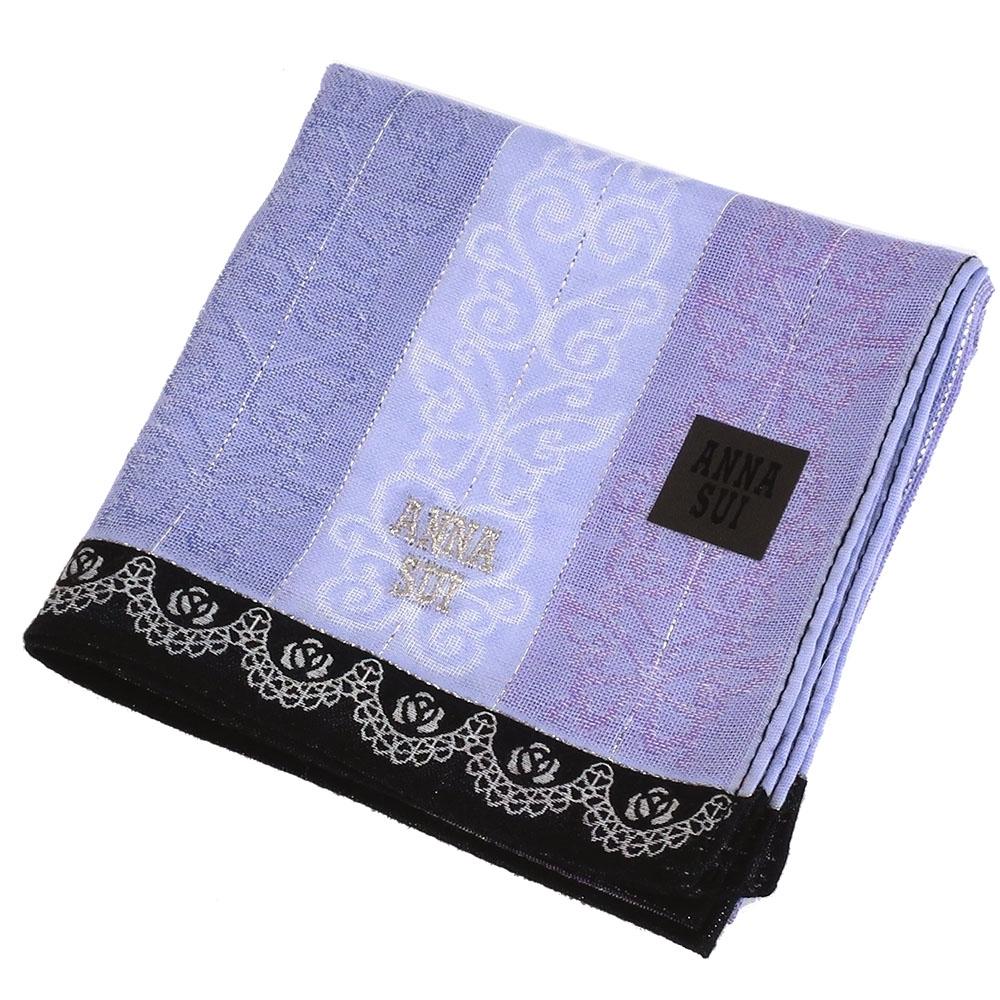 ANNA SUI 蝴蝶刺繡條紋方形棉質帕巾(紫)