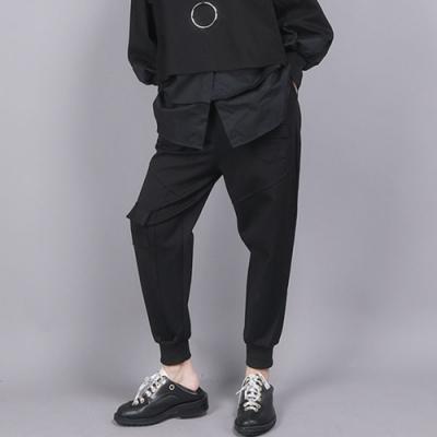 設計所在Style-工裝褲鬆緊腰口袋黑色寬鬆休閒九分褲子