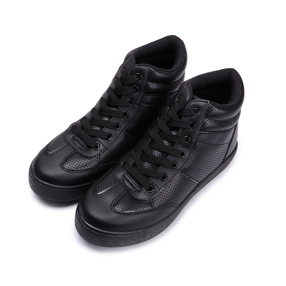 BuyGlasses 微內增高綁帶高筒休閒鞋-黑 @ Y!購物